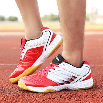 Męskie buty do siatkówki damskie antypoślizgowe podeszwy oddychające sportowe trampki tłumiące miękkie tenisowe buty do badmintona tanie i dobre opinie Cotton Fabric Pasuje prawda na wymiar weź swój normalny rozmiar Zaawansowane Spring2019 Lace-up Formotion Hard court