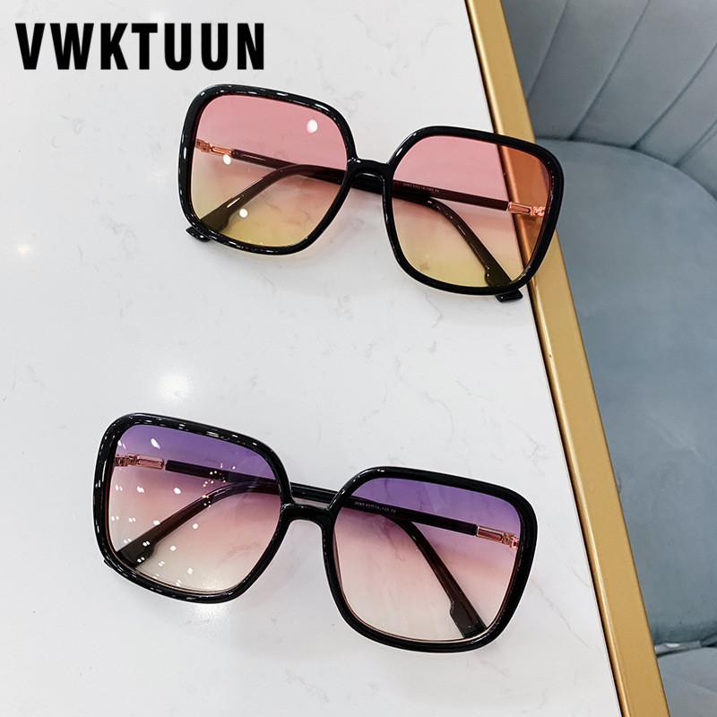VWKTUUN Sunglasses Women 2019 Square Shades Oversized Sunglasses Gradient Lens Sun Glasses Vintage UV400 Oculos Female Points