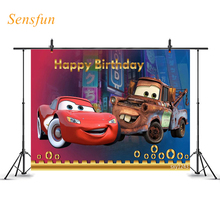 Sensfun Cartoon Backdrop Cars Birthday Boys Street Red Blue Photography Background Photographic Backdrop Photo Studio Photocall 5x7ft dark blue backdrop dark blue ocean world photography background and photography studio backdrop props