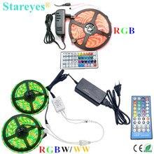1 set SMD 5050 5m 10m RGB RGBW RGBWW 60LED/m LED Strip tape Ribbon Flashlight lighting IP20 IP65 Waterproof+Remote+Power Adapter