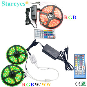Image 1 - 1 set SMD 5050 5m 10m RGB RGBW RGBWW 60LED/m LED Strip tape Ribbon Flashlight lighting IP20 IP65 Waterproof+Remote+Power Adapter