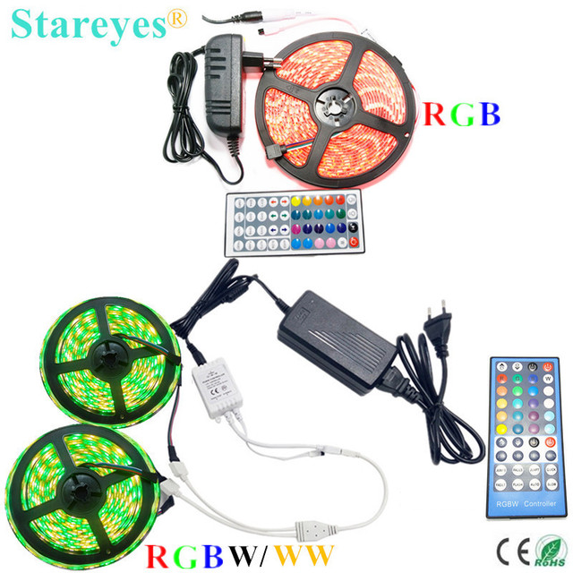 1 set SMD 5050 5m 10m RGB RGBW RGBWW 60LED/m LED Strip tape Ribbon Flashlight lighting IP20 IP65 Waterproof+Remote+Power Adapter