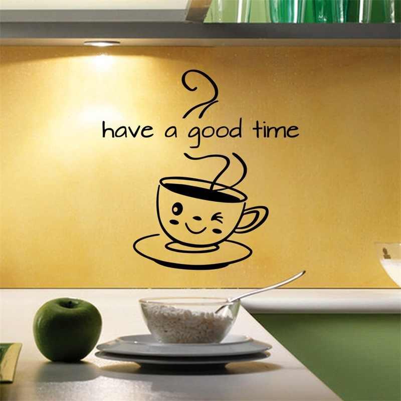Lucu Cangkir Kopi Stiker Dinding Ruang Tamu Dapur Kopi Toko Dekorasi Rumah Decal Memiliki Waktu Yang Baik Dapat Dilepas Stiker Wallpaper