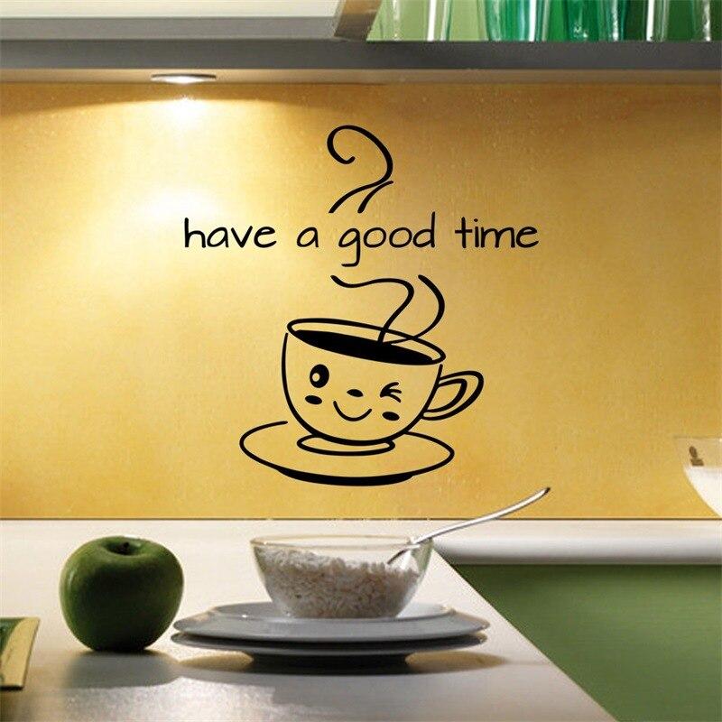 Ev ve Bahçe'ten Duvar Çıkartmaları'de Sevimli kahve fincanı duvar Sticker oturma odası mutfak kahve dükkanı ev dekorasyon çıkartması iyi bir zaman var çıkartmalar çıkarılabilir duvar kağıdı title=