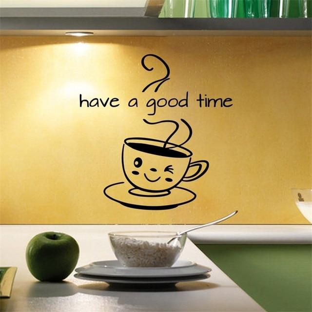 Śliczna filiżanka do kawy naklejki ścienne pokój dzienny kuchenna kawa sklep Home dekoracyjna naklejka mieć dobry czas naklejki wymienny tapety