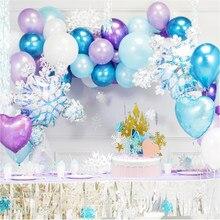 Elsa anna princesa floco de neve balão guirlanda arco kit festa de aniversário natal gelo metal balão decoração do chuveiro do bebê globos