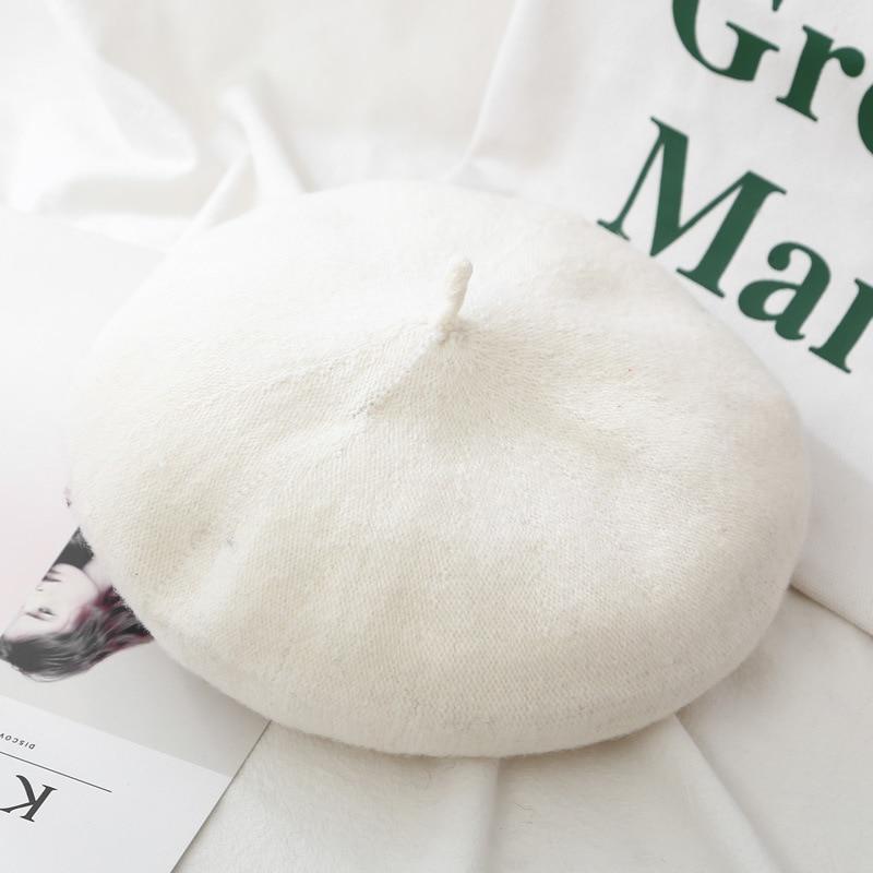 Женские береты на весну и зиму, шапка в стиле художника, женские шерстяные винтажные береты, однотонные кепки, женская шапка, теплая прогулочная шапка
