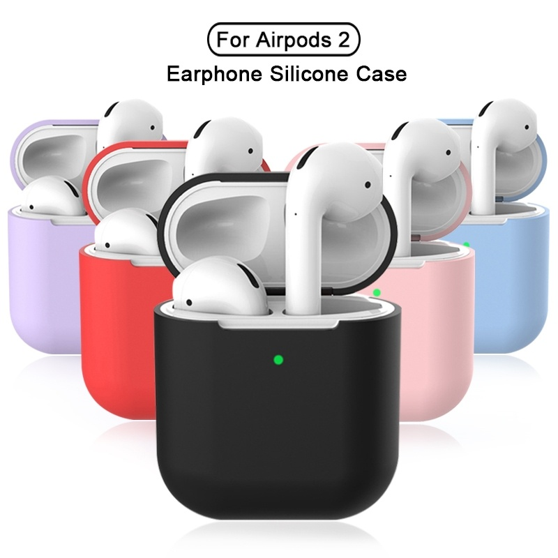 Silicone Earphone Cases For Airpods 2 Skin Sleeve Pouch Box Protector Wireless Headphone Cover For Airpods 2nd Protective Coque