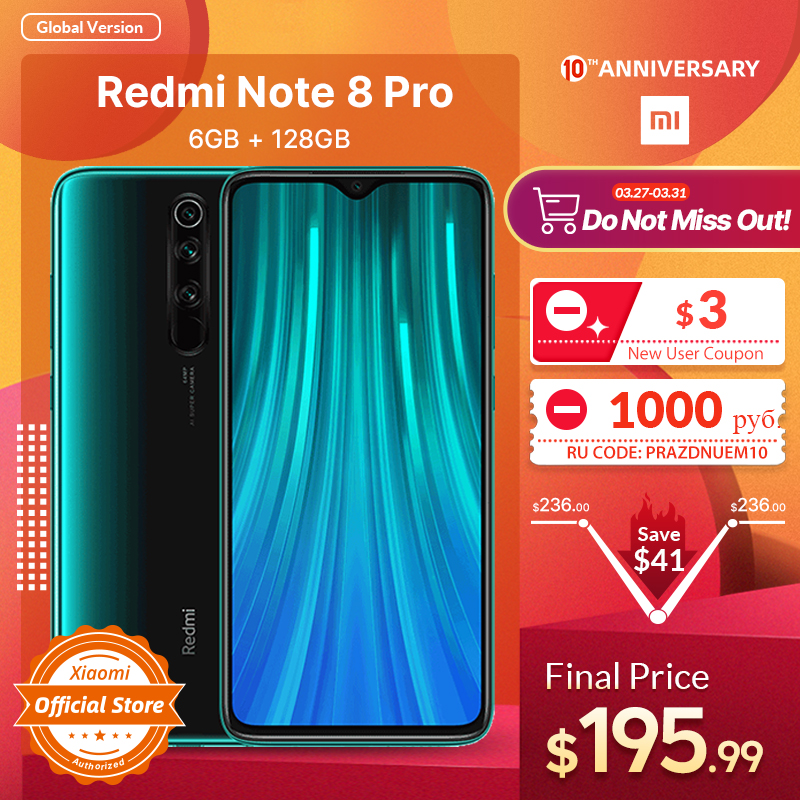 Xiaomi Redmi Note 8 Pro 6GB 128GB GSM/LTE/WCDMA NFC Usb-pd/Quick charge 3.0/Quick charge 4.0 title=