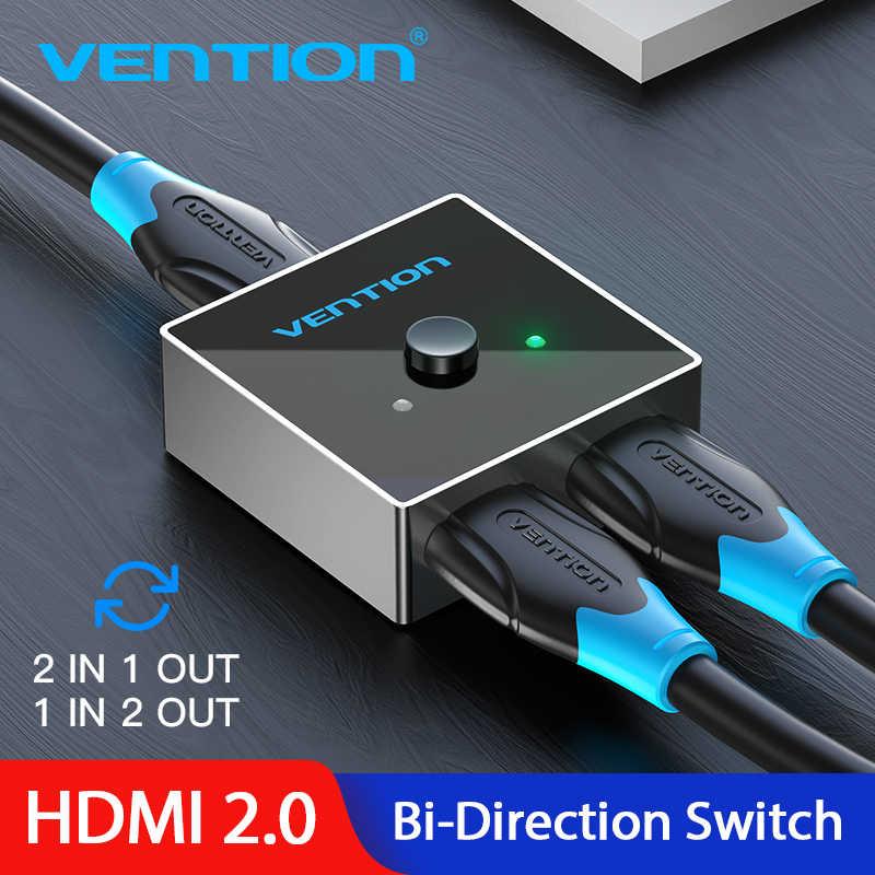 Vention HDMI Switch Dua Arah 2.0 HDMI Splitter 1X2/2X1 Adaptor 2 In 1 keluar Converter untuk PS4 Pro/4/3/TV Box HDMI 4K Switcher