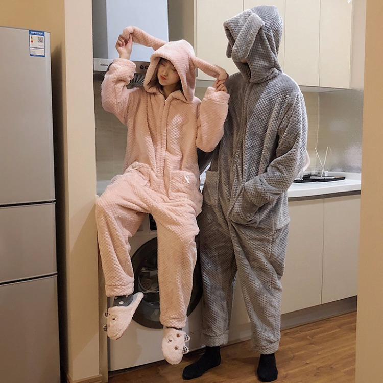 2019 Women Pajamas Winter New Korean Version Loose Rabbit Kigurumi Couple Pajamas Homewear Onesies For Adults Kigurumi Pajamas