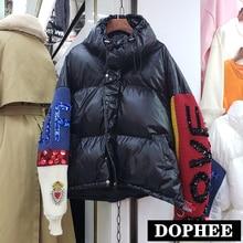 Новинка, европейский стиль, зимняя куртка с вышитыми стразами, пайетками и буквами, вязанный рукав, сшитый теплый пуховик из хлопка, Женская Толстая парка, пальто, верхняя одежда