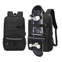 لوح التزلج على ظهره حقيبة مكافحة سرقة قفل بكلمة مرور USB شحن حقيبة كتف الرجال النساء الترفيه السفر حقيبة حاسوب Longboard حقيبة