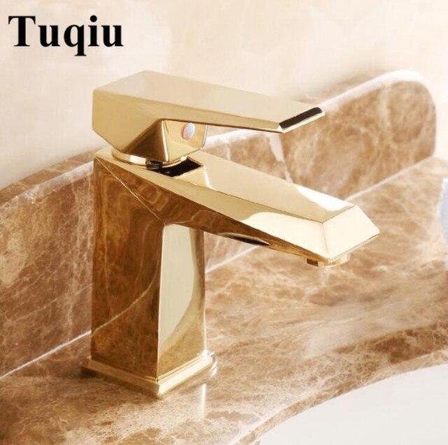 Vidric robinet de lavabo de salle de bains de luxe   Finition or Rose, petite poignée simple avec diamant, eau de mélangeur dévier, livraison gratuite