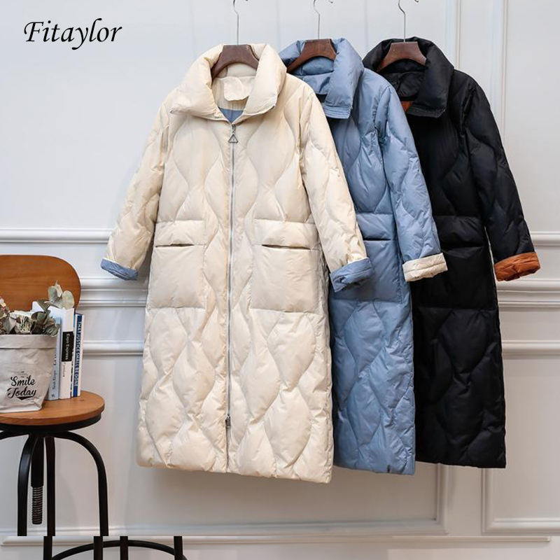 FTLZZ New Ultra Light Duck Down Coats Winter Jacket Women Warm Snow Coats Female Casual Down Parka Long Overcoat