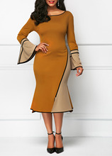 Winter Dress 2019 Autumn Sexy O-neck Women Trumpet Sleeves Contrast Color Slim Bag Hip Fshtail Dress Mujer Plus Size S-5XL contrast stitches trumpet pants