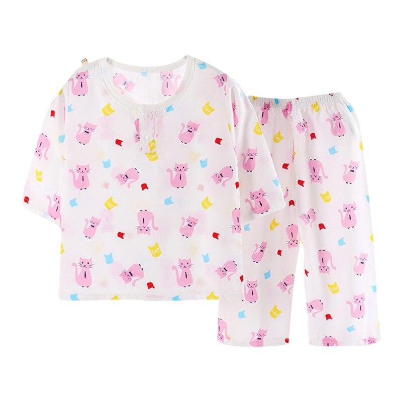 Kids Cartoon Pattern Pajamas Sets Boys Girls Short Sleeve Sleepwears Short Sleeve Top + Bottom Pajama Sets Clothes 3-6Y