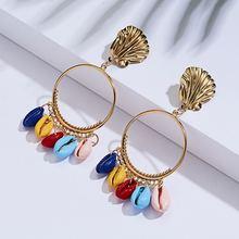 Новые богемные золотые серьги кулон в виде ракушки женские подарок