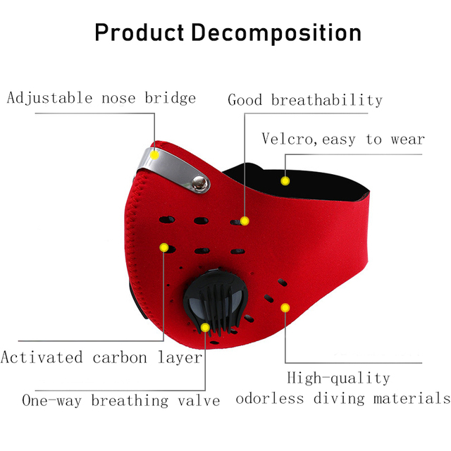 1pcs Personal Motorcycle Face Mask for Mouth Black Reusable Face Mask washable Activated Carbon Filter Respirator Cycling Masker 5