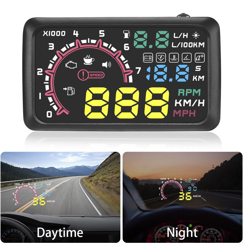 5 5inch Car HUD Head-up Display OBD2 Overspeed Warning System Projector Windshield Auto Electronic Voltage Alarm