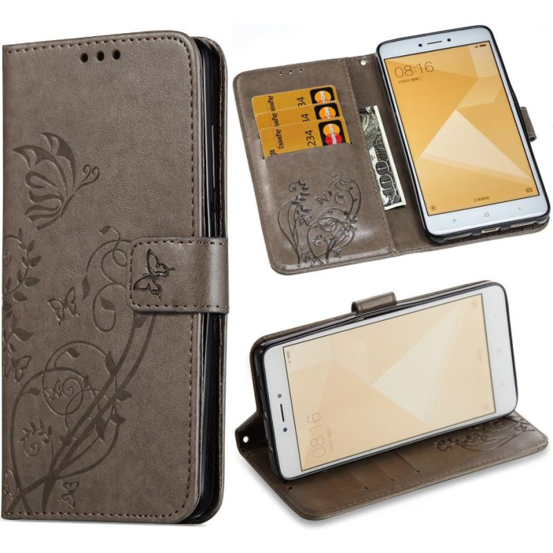 Case For <font><b>Xiaomi</b></font> 5X A1 <font><b>Redmi</b></font> Note 5A 4X 4 <font><b>4A</b></font> Note4 Note4X Note5A <font><b>Book</b></font> Style Wallet Leather Phone Case Emboss Butterfly <font><b>Cover</b></font> P03Z image