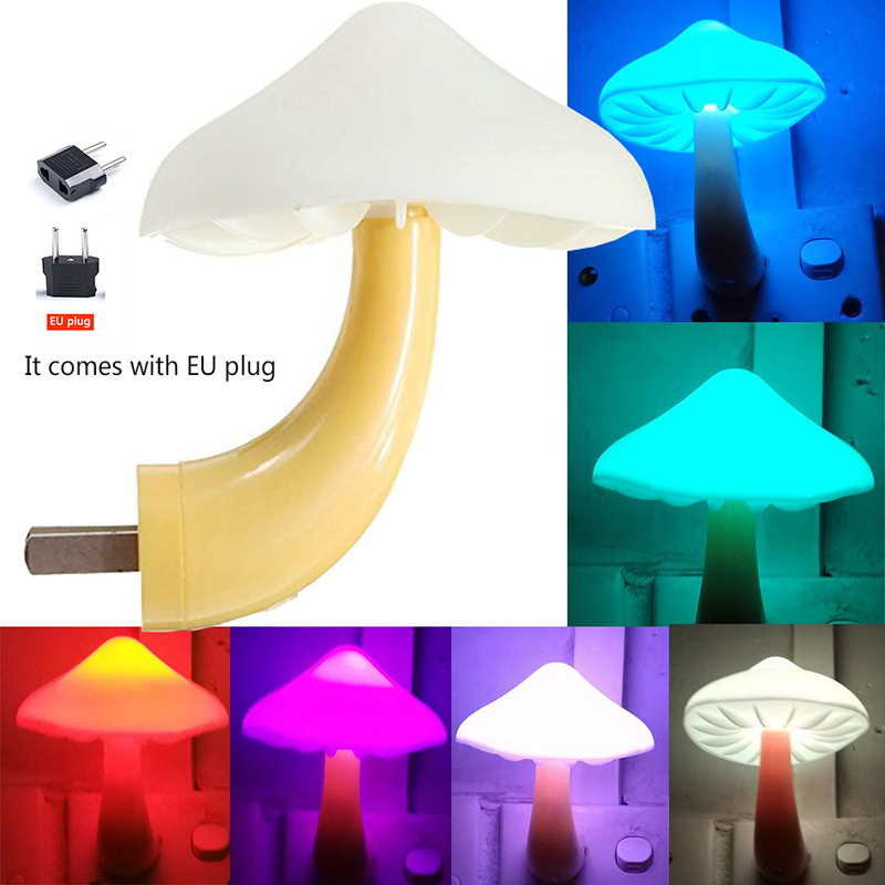 LED Intelligent Light Control Mushroom Night Lamp Children's Night Light Mini Wall Lamp Baby Child Bedroom Decoration Night Lamp