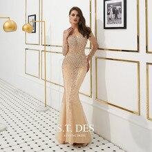Платья для выпускного вечера 2020 Лето S.T.DES Горячая Великолепная Золотая Иллюзия Полный блестками бисером Русалка с длинными рукавами длинное вечернее платье
