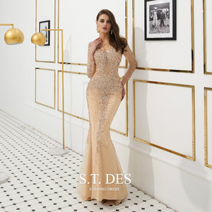 Image 1 - Prom Dresses 2020 Summer S.T.DES Hot Gorgeous Golden Illusion Full Sequins Beaded Mermaid Long Sleeves Long Evening Dress