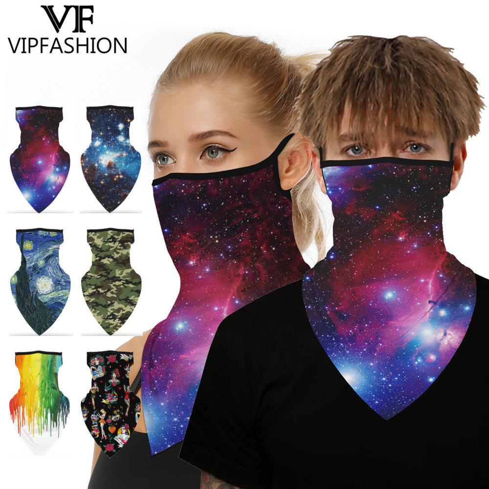 VIP FASHION Adult Starry Print Face Scarves Balaclava Bandana Ski Face Scarf Neck Gaiter Cover Anti-UV Outdoors Triangle Scarves