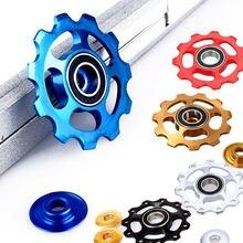 1 pçs 11t jockey roda desviador polia de alumínio da bicicleta traseira desviador roda guia polia para desviador traseiro da bicicleta ouro