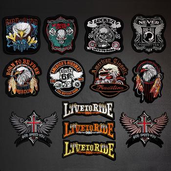 Punk Eagle Paw Live to Ride czaszka łaty do haftu na odzież naprasowanki na ubrania Biker motocykl naszywka ubraniowa naszywka tanie i dobre opinie PGY HEHUOREN As picture HANDMADE Ekologiczne Haftowane Plastry Iron-on 190730 Bikers Cloth Patches for Clothes Jeans Coat Hat Decor