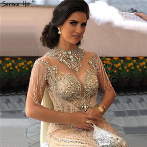Image 5 - Dubai Beading Tassel Luxury Sexy Evening Dresses 2020 Silver Sleeveless High end Evening Gowns Serene Hill LA60811