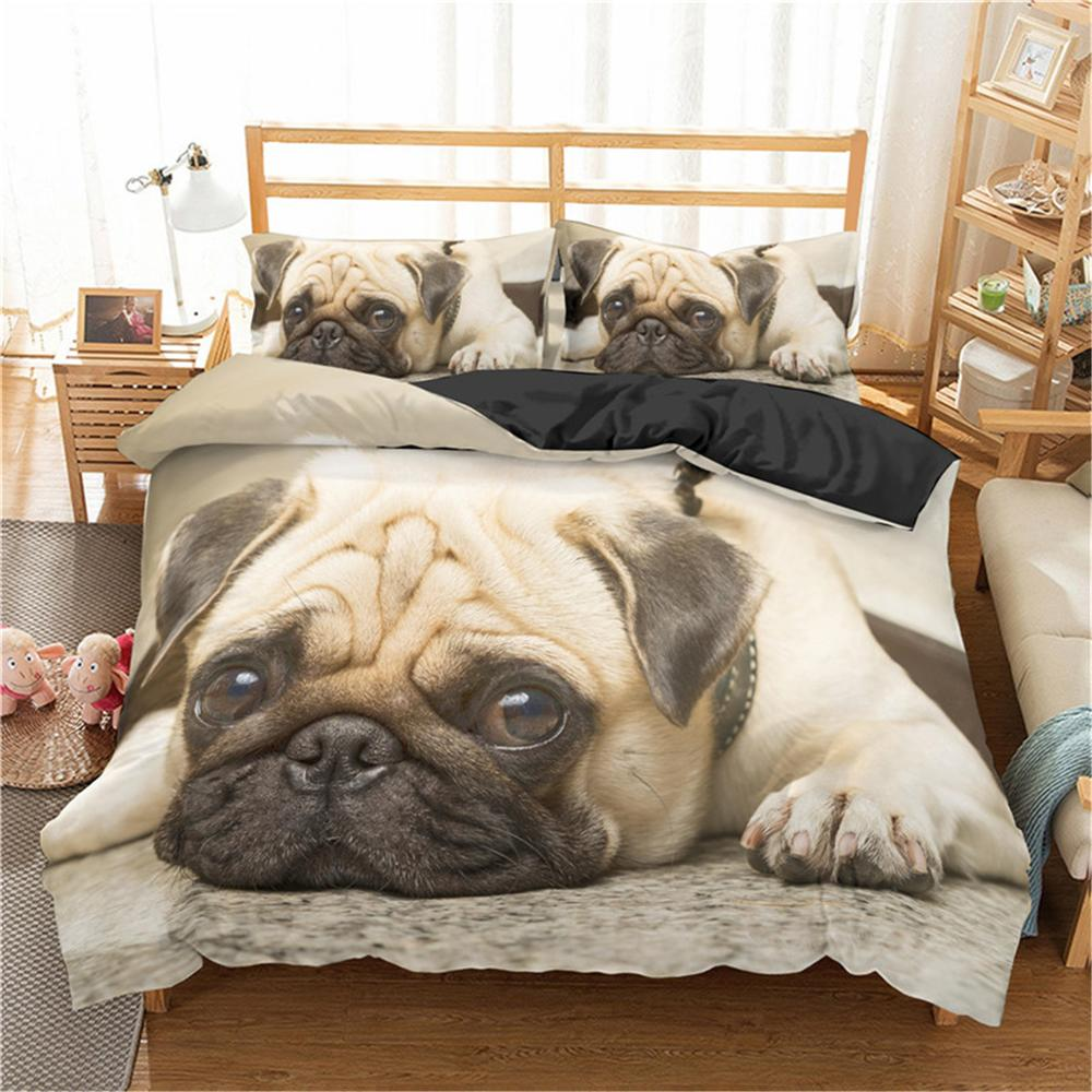 Homesky 3D Cute Dog Bedding Sets Pug Dog Bed Set Duvet Cover Set Pillowcase King Queen Size Bed Linen Bedclothes