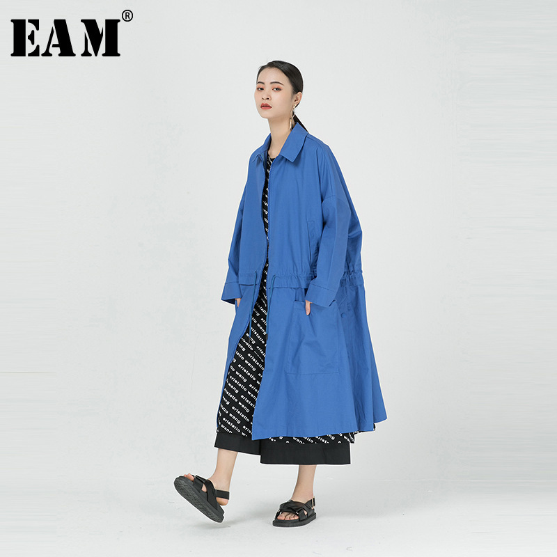[EAM] Women Blue Brief Spit Joint Big Size   Trench   New Lapel Long Sleeve Loose Fit Windbreaker Fashion Tide Spring 2020 1R088