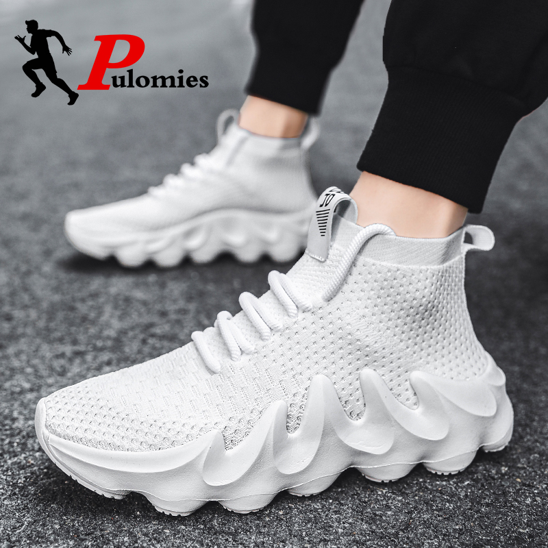Summer Men Tennis Shoes Men Sport Runnning Shoes Platform Sneakers Men Breathable Knit Walking Trainers Male Casual Shoes 46