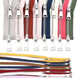 30/40/50/60/70/80cm 5# Colorful High Quality Open-end Double Sliders Silver Metal Zipper DIY Handcraft For Cloth Pocket Garment