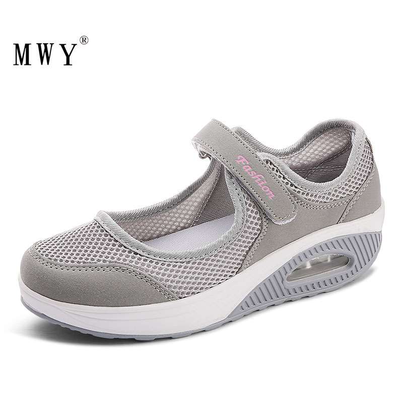 MWY Womens Sneakers Breathable Mesh Hook Loop Wedges Casual Shoes Women Vulcanize Shoes Outdoor Walking Shoes Deportivas Mujer