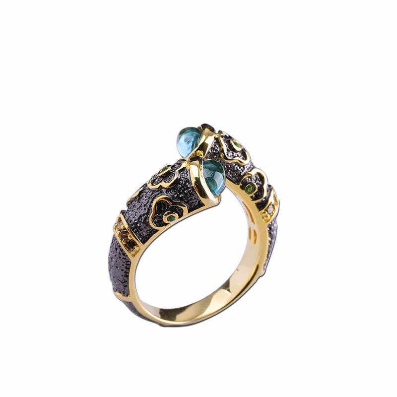 925 สเตอร์ลิงเงินธรรมชาติสีอัญมณีเปิดแหวน Topaz คอรันดัมหยกเครื่องประดับ Fine สำหรับผู้หญิงแหวนของขวัญ