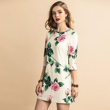 Vestido corte recto verano casual manga media flores