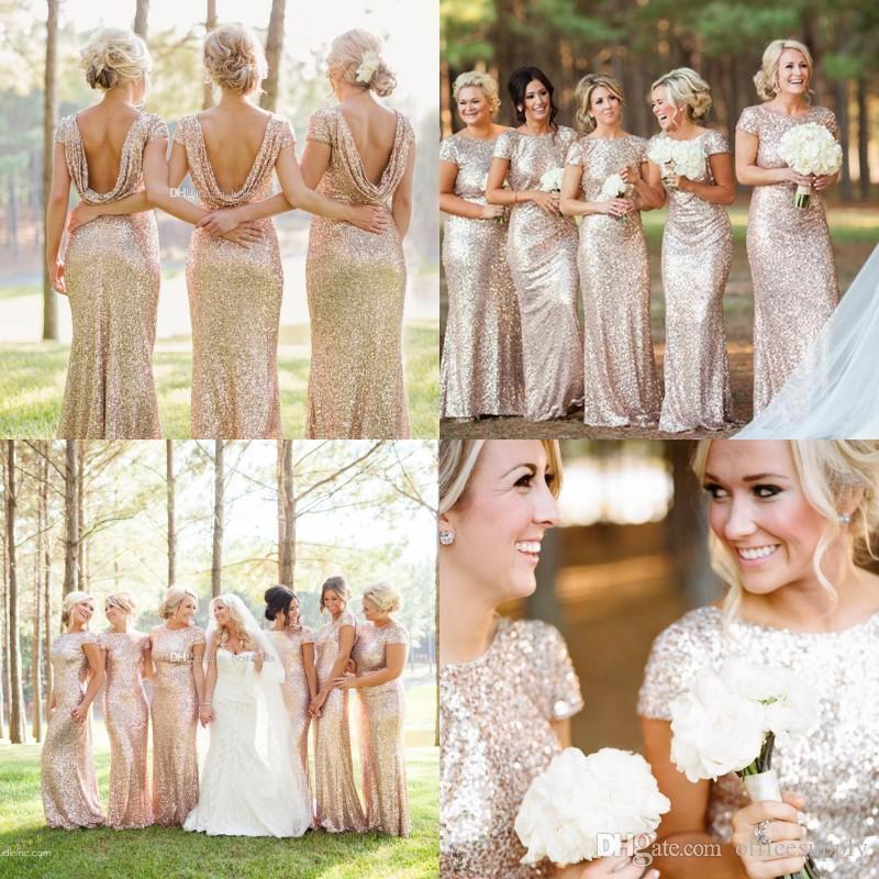 Rose Gold Cheap Mermaid Bridesmaid Dresses Short Sleeves Backless Long Beach Sequins Wedding Party Maid Of Honor Dress