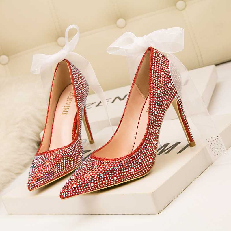 Spring and autumn new luxury banquet women's shoes with shallow mouth pointed sexy wedding shoes rhinestone diamond high heel sh