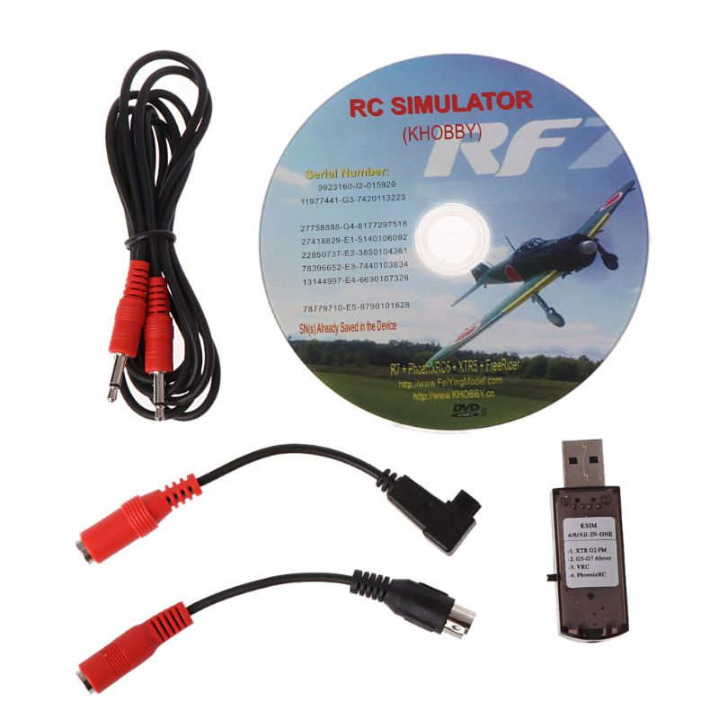 22 In 1 RC USB Flight Simulator With Cables For G7 Phoenix 5.0 Aerofly XTR VRC FPV Racing