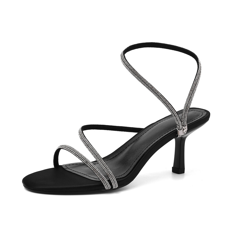 Meotina Summer Sandals Women Shoes Rhinestone Stiletto High Heels Party Shoes Sexy Open Toe Sandals Ladies 2020 Black Size 34-39