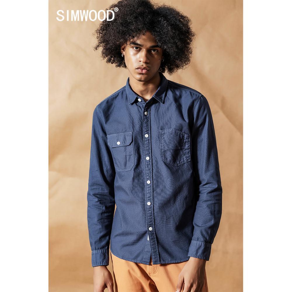 Image 2 - SIMWOOD 2020 spring New Cargo Pocket Shirt Men 100% Cotton Causal  Long Sleeve Shirts Plus Size High Quality Clothing 190376Casual  Shirts
