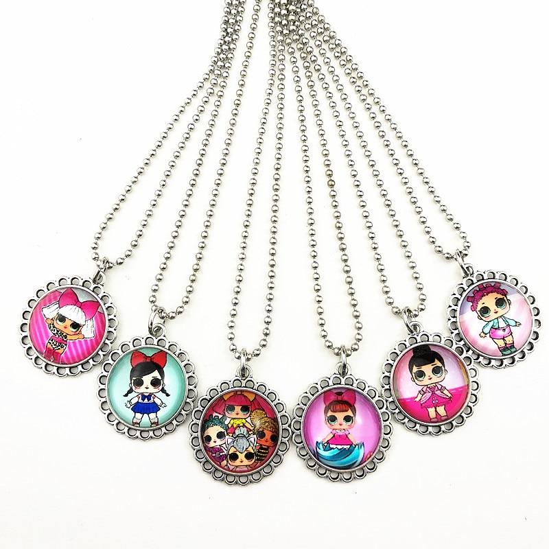 24 шт новые стили мультфильм кукла красочные бусы стеклянные браслеты ожерелье брелок кольцо серьги ювелирные изделия серии для девочек