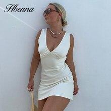 Hbenna Satin Party Dresses Women Sleeveless V-Neck Sexy Hight Waist Slim Sexy Laceup Mini A-line Summer Dress Women Elegant 2021