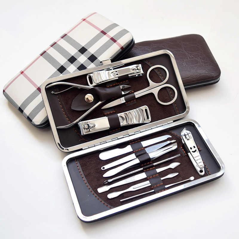Acier inoxydable 12 pièces coupe-ongles coupe manucure coupe-ongles ensemble outils se débarrasser de la peau morte meulage armure pédicure couteau