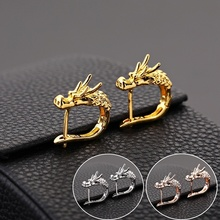 Personality Gold/Silver Color Dragon Head Hoop Earring for Animal Dragon Small Hoop Earring Hip Hop Jewelry for Men Women fashion crystal round hoop earring hip hop punk stud earring for women gold color colorful jewelry gifts wholesale