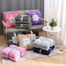 17 Colors Striped Throw Blanket Flannel Fleece Super Soft Blankets Winter Warm Fluffy Bed Linen Bedspread For Sofa Bedroom