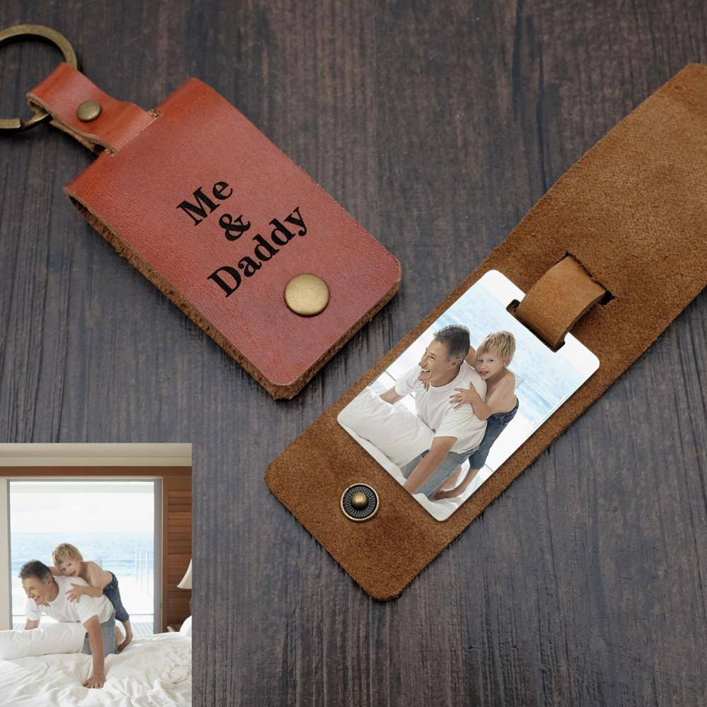 Personalised Photo Keyring In Leather Case,Personalized Leather Keychain,Photo Key Chain,Father's Day Birthday Gift For Dad Him